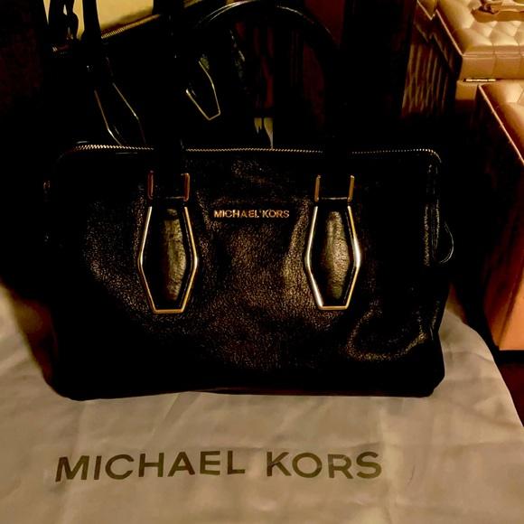 Michael Kors black leather handbag w gold trim